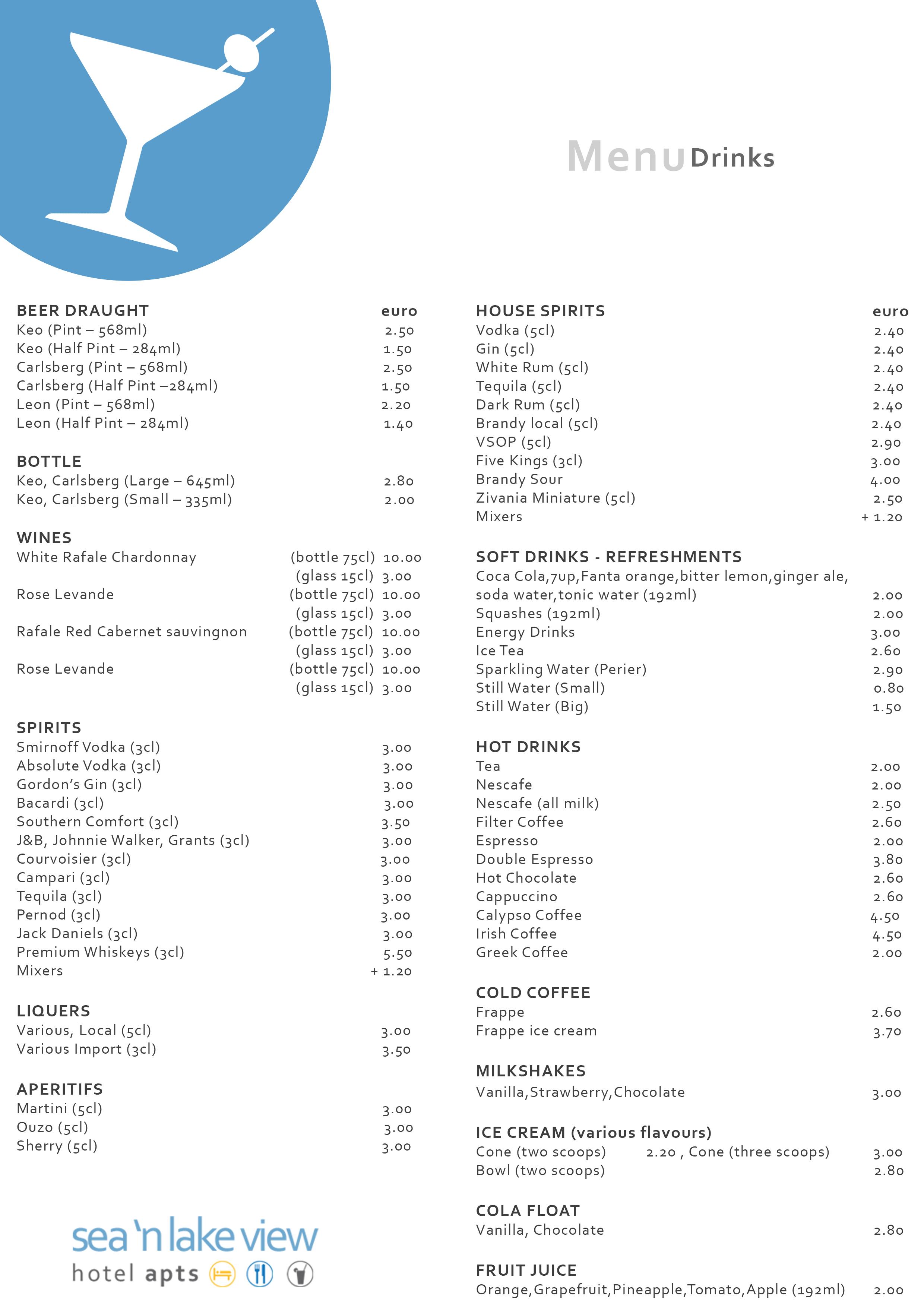 sea n lake menu drinks